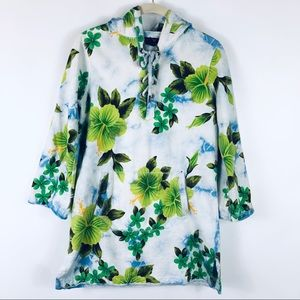 Lucky Brand Floral Hoodie Pullover Lace Up Aloha